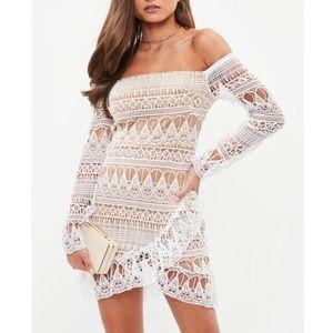 NWT Lavender Lace Bardot Wrap Dress